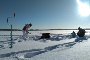 Ice fishing on Kemijoki