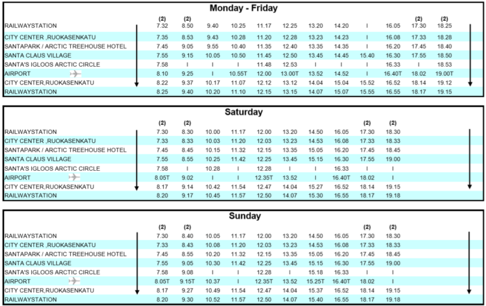 time table santa express