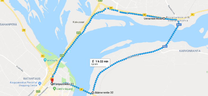Hiking around Rovaniemi bridges