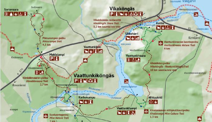 Carte des randonnées autour de Rovaniemi: region du cercle arctique