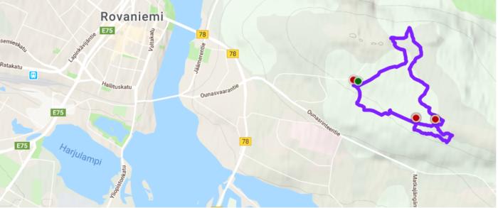 Carte du chemin de randonnée de Ounasvaara