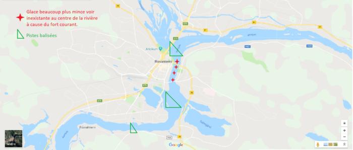 Carte des zones de balade sur la rivière pendant l'hiver